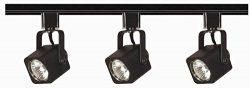 Nuvo Lighting TK346 3-Light Line Voltage 50-Watt MR16 GU10 Base, Square Head Track Light Kit, Black