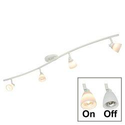 Direct-Lighting 4 Light Adjustable Track Light, White Finish, White Glass Shade, Ready to Instal ...