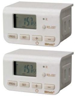 Woods 50007WD Indoor 24-Hour Digital Plug-In Timer, 2 Pack, 1 Polarized Outlet