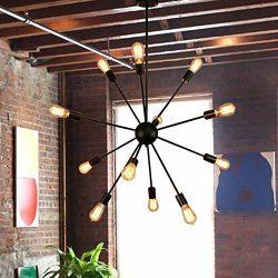 Sputnik Chandelier – Housen Solutions 12 Lights Pendant Lighting, Painted Black Pendant Ch ...