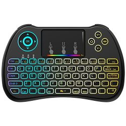 (Upgraded Version) Aerb 2.4GHz Colorful Backlit Mini Wireless Keyboard with Mouse Touchpad Recha ...
