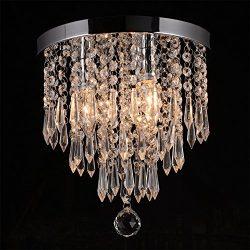 Hile Lighting KU300107 Crystal Chandeliers Flush Mount Ceiling Light Lamp,Diameter 11.0 Inch Hei ...