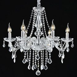 Safstar Clear Crystals Candle Chandelier 6 Ceiling Lights Fixtures for Dining Living Room Bedroo ...
