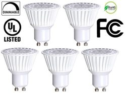 5 Pack Bioluz LED GU10 50W Equivalent (Uses only 6.5 watts) Dimmable 3000K 120v UL Listed