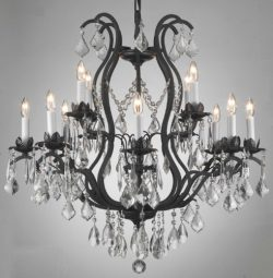 Wrought Iron Crystal Chandelier Lighting Chandeliers H30″ x W28″