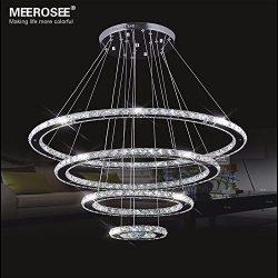 MEEROSEE Crystal Chandeliers Modern LED Ceiling Lights Fixtures Pendant Lighting Dining Room Cha ...