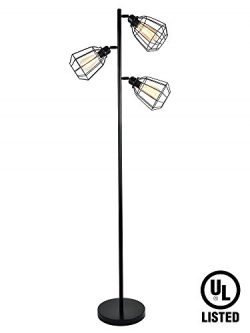 LeonLite 65inch Track Tree Floor Lamp, 3-head Torchiere Lamp Fixture with Open Cage Shades, Vint ...