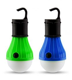 2 PC Camping Lights | Portable LED Light Bulb Fixtures for Camping & Backpacking | Battery P ...