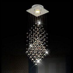 Surpars House® Flush Mount 1-Light Crystal Rain Drop Chandelier 1X3W GU10 LED Bulb Included