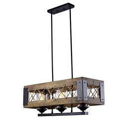 LALUZ Wood Kitchen Island Lighting 3-light Pendant Lighting Chandeliers