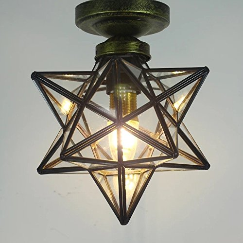 Clear Glass Star Flush Mount Moravian Star Ceiling Light ...