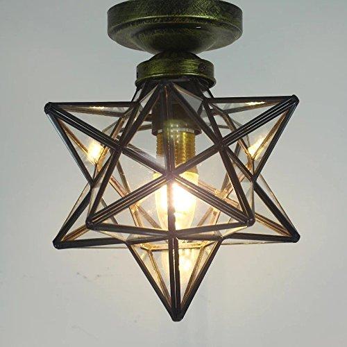 Clear Glass Star Flush Mount Moravian Star Ceiling Light