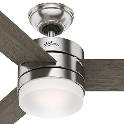 Hunter 54″ Contemporary Ceiling Fan with Remote Control in Brushed Nickel (Certified Refur ...