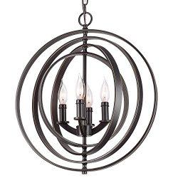 Revel / Kira Home Orbits 18″ 4-Light Modern Sphere/Orb Chandelier, Bronze Finish