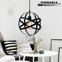 Industrial Spherical Pendant Light, KINGSO UL Listed Globe Hanging Light Antique Sphere Chandeli ...