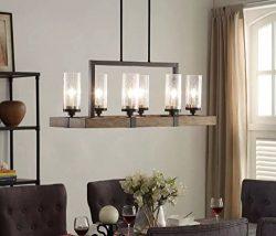 Vineyard 6-Light Metal and Wood Chandelier