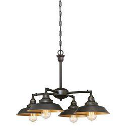 6345000 Iron Hill Four-Light Indoor Chandelier/Semi-Flush Ceiling Fixture, Oil Rubbed Bronze Fin ...