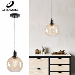 Lampworks Pendant Light Dia 7-7/8″ Industrial Clear Champagne Glass Globe Lampshade Ceilin ...