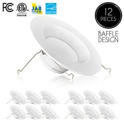 (12-Pack) 5/6 inch Dimmable LED Downlight, 12W (100W Replacement), Baffle Design, Retrofit LED R ...