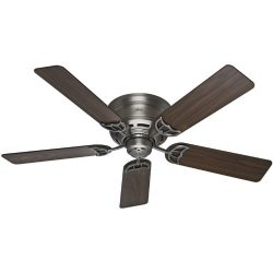 Hunter 53071 Low Profile III 52-Inch Antique Pewter Ceiling Fan with Five Walnut/Light Cherry Blades