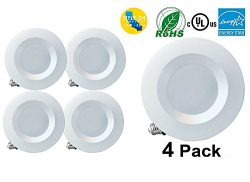5″ / 6″ Dimmable LED Downlight Smooth Trim, 1100 Lumens, 5000K Daylight, Recessed Re ...