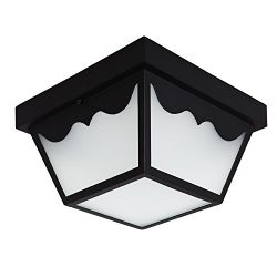Maxxima LED Outdoor Porch Ceiling Light Fixture, Black w/ Frosted Glass, 700 Lumens, 4000K Neutr ...