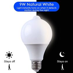 Motion Sensor + Light Sensor Bulb, 9W 810Lumens E27 Base PIR LED Bulb with Dusk to Dawn Auto Swi ...