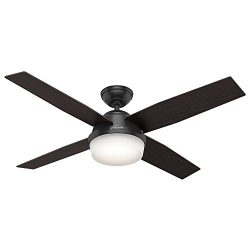 Hunter 59251 Contemporary Dempsey Damp Matte Black Ceiling Fan With Light & Remote, 52″