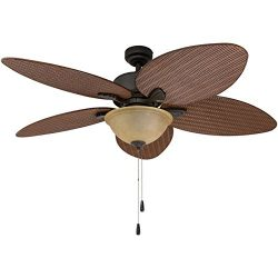 Prominence Home 80014-01 Palm Valley Tropical Ceiling Fan with Palm Leaf Blades, Indoor/Outdoor, ...