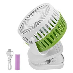 BONAOK USB Mini Clip Fan, 2 in 1 Portable Rechargeable Silent Fans with 360 Rotation Adjustable  ...