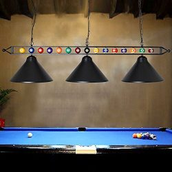 "Chende 59"" Hanging Pool Table Light Fixture for Game Room Beer Party, Ball Design Metal Bi ..."