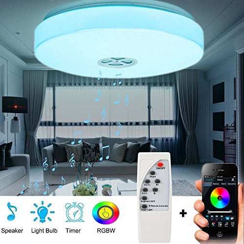 LED Ceiling Light with Bluetooth Speaker Music Sync RGBW