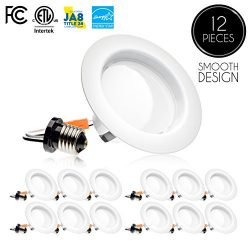 (12 Pack) 4-inch LED Downlight Trim, Dimmable, 10.5W (75W Replacement), 700 Lm, EASY INSTALLATIO ...