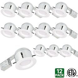 Hykolity 6″ White LED Remodel Recessed Lighting Kits, IC Rated Remodel Housing and Dimmabl ...