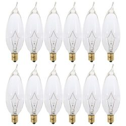 (Pack of 12) 60 Watt Clear Candelabra Base (E12) Flame Tip 120V Decorative Dimmable Chandelier L ...
