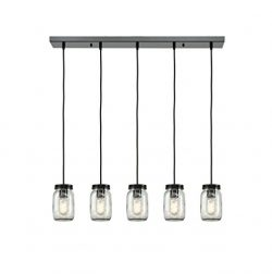 EUL Mason Jar Light Fixture 5-Light Linear Chandelier Glass Hanging Pendant Lights Oil Rubbed Br ...