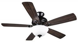 Hyperikon Indoor Ceiling Fan with Remote Control, 52-inch Black Ceiling Fan Fixture – Five ...