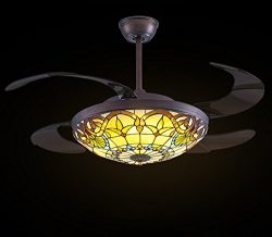 Siljoy Retractable Ceiling Fans with Remote and Dimmable LED Lights Mediterranean Style 42-Inch  ...