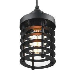 Mulslect Cage Pendant Light Retro Industrial Black Metal Pendant Lighting, Mini Rust Shade Ceili ...