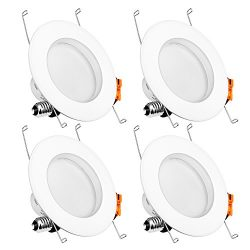 Recessed LED Lighting,LuminWiz 5/6 inch 14W 4000K CRI90 Daylight White Dimmable LED Downlight Re ...