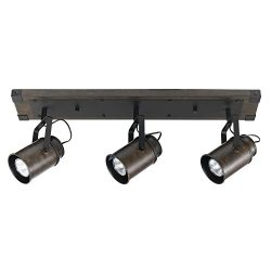 Globe Electric 59316 Williamsburg 3 Track Lighting Finish, Metal Accents, Bulbs Included, Dark Wood