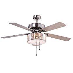 Warehouse of Tiffany CFL-8174SN Kimalex Wood Nickel Crystal Ceiling Fan
