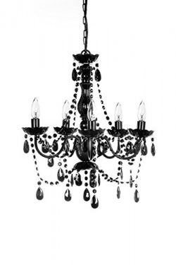 The Original Gypsy Color 5 Light Medium Black Chandelier H21″ W19″, Black Metal Fram ...