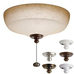 Kichler Lighting 338153MUL Universal Fluorescent Large Bowl 3LT Ceiling Fan Light Kit, Pine Bark ...