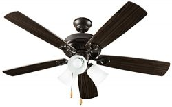 Hyperikon Indoor Ceiling Fan with Pull Chain, 42-inch Wood Ceiling Fan – Brown Fixture wit ...