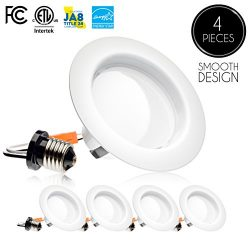 (4 Pack) 4-inch LED Downlight Trim, Dimmable, 10.5W (75W Replacement), 700 Lm, EASY INSTALLATION ...