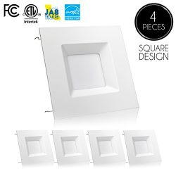 (4 Pack)- 6-inch LED Square Downlight Trim, 15W (100W Replacement), Square Recessed Light, Dimma ...