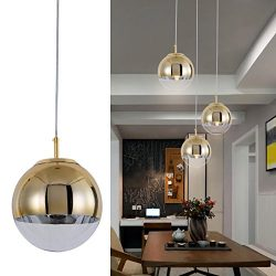 Modern Mini Globe Pendant Lighting with Handblown Clear Glass, Adjustable Mirror Ball Kitchen Pe ...