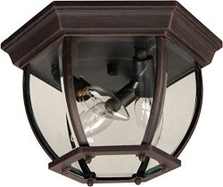 Craftmade Z433-07 Outdoor Flush Mount Light with Beveled Glass Shades, Rust Finish