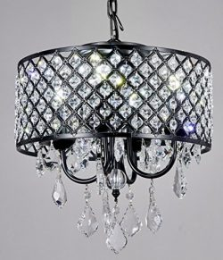 New Galaxy 4-Light Antique Black Round Metal Shade Crystal Chandelier Pendant Hanging Ceiling Fi ...
